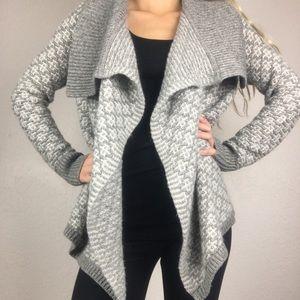Ann Taylor Loft Gray Draped Wool Cardigan Sweater
